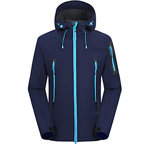 cheap Camping, Hiking & Backpacking-Men's Hoodie Jacket Hiking Fleece Jacket Autumn / Fall Winter Spring Outdoor Solid Color Waterproof Windproof Warm Breathable Softshell Jacket Single Slider Hunting Fishing Climbing Black Red Blue