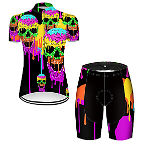 cheap Cycling & Motorcycling-21Grams Women's Short Sleeve Cycling Jersey with Shorts Summer Nylon Polyester Black / Yellow Gradient Sugar Skull Novelty Bike Clothing Suit 3D Pad Ultraviolet Resistant Quick Dry Breathable