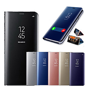 cheap Cases & Covers-Smart Mirror Flip Phone Case For Samsung Galaxy S20/ S20 PLUS / S20 Ultras /S10/S10 Plus/Note10/Note10P/Note10 Shockproof / Mirror / Flip Full Body Cases Solid Colored PU Leather