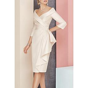 halpa Tarjous-tuppi / sarake morsiamen mekko tyylikäs vintage plus koko v kaula polven pituus satiini 3/4-hiha hihnalla puisilla / nauhalla rypistämällä 2020 sulhanen äiti