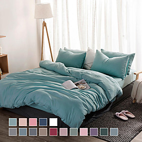 cheap Solid Duvet Covers-Washed cotton four-piece bed sheet style bed sheet set simple air bed linen single double