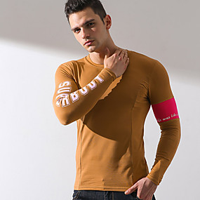 cheap Running & Jogging-Superbody Men's Long Sleeve Workout Tops Running Shirt Top Summer Elastane Quick Dry Breathable Soft Fitness Gym Workout Running Jogging Sportswear Yellow Burgundy Gray Activewear Stretchy / Cotton