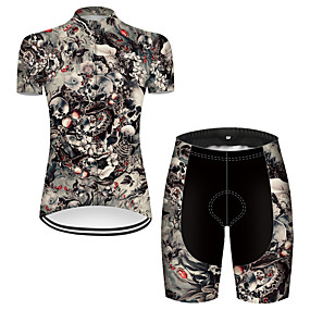 cheap Cycling & Motorcycling-21Grams Women's Short Sleeve Cycling Jersey with Shorts Summer Nylon Polyester Grey Sugar Skull Novelty Skull Bike Clothing Suit 3D Pad Ultraviolet Resistant Quick Dry Breathable Reflective Strips