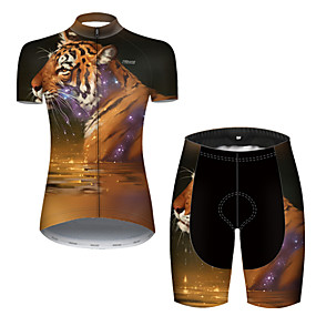 cheap Cycling & Motorcycling-21Grams Women's Short Sleeve Cycling Jersey with Shorts Summer Nylon Polyester Black / Yellow Galaxy Tiger Animal Bike Clothing Suit 3D Pad Ultraviolet Resistant Quick Dry Breathable Reflective Strips