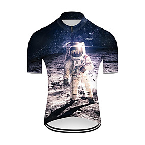 cheap Cycling & Motorcycling-21Grams Men's Short Sleeve Cycling Jersey Summer Nylon Polyester Blue+White 3D Astronaut Bike Jersey Top Mountain Bike MTB Road Bike Cycling Ultraviolet Resistant Quick Dry Breathable Sports Clothing