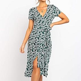 povoljno Wrap Dress-Žene Haljina A-kroja Midi haljina - Kratkih rukava Cvjetni print Ljeto V izrez Ležerne prilike 2020 Djetelina S M L XL XXL