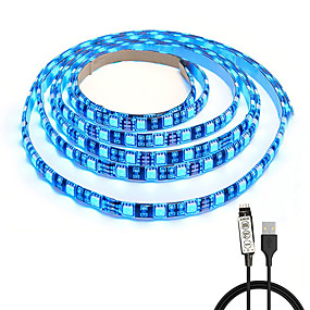 billige Nyheder-sort pcb tv baggrundsbelysning kitcomputer taske led lys1m multi-farve 60 led fleksible 5050 rgb usb led strip lys med 5v usb kabel og mini controller til tv / pc / laptop baggrundsbelysning