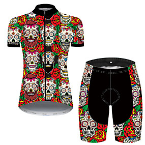 cheap Cycling & Motorcycling-21Grams Women's Short Sleeve Cycling Jersey with Shorts Summer Nylon Polyester Black / Red Sugar Skull Skull Floral Botanical Bike Clothing Suit 3D Pad Ultraviolet Resistant Quick Dry Breathable