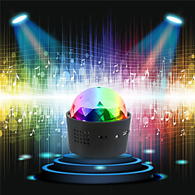 cheap New Arrivals-2pcs / 1pcs Car DJ lights Wireless Disco Ball Lights Battery Operated Sound Activated LED Party Strobe Light Mini Portable RGB DJ Stage Light with USB