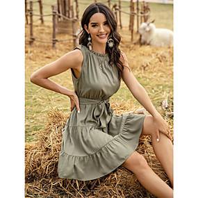 Χαμηλού Κόστους Women's Dresses-Γυναικεία Φόρεμα σε ευθεία γραμμή Μίνι φόρεμα - Αμάνικο Συμπαγές Χρώμα Patchwork Καλοκαίρι Καθημερινό 2020 Πράσινο του τριφυλλιού Τ M L XL