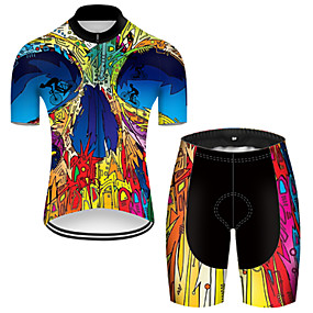 cheap Cycling & Motorcycling-21Grams Men's Short Sleeve Cycling Jersey with Shorts Summer Nylon Polyester Blue+Yellow Patchwork Gradient Funny Bike Clothing Suit 3D Pad Ultraviolet Resistant Quick Dry Breathable Reflective Strips