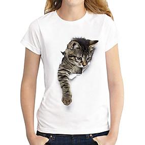 cheap Women-Women's T shirt Cat Graphic 3D Print Round Neck Basic Tops 100% Cotton Dark Brown Lace Cat White Cat