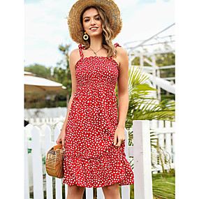 preiswerte Women's Dresses-Damen A-Linie Kleid Knielanges Kleid - Ärmellos Geometrisch Gerüscht Sommer Bateau Boho Schlank 2020 Rote S M L XL