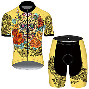 cheap Cycling & Motorcycling-21Grams Men's Short Sleeve Cycling Jersey with Shorts Summer Nylon Polyester Black / Yellow Sugar Skull Skull Floral Botanical Bike Clothing Suit 3D Pad Ultraviolet Resistant Quick Dry Breathable