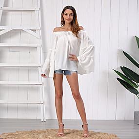 Χαμηλού Κόστους Women's Tops-Γυναικεία Εξόδου Μπλούζα Μονόχρωμο Μακρυμάνικο Πλισέ Ώμοι Έξω Άριστος Κομψό Χαβανέζα Βασική κορυφή Λευκό