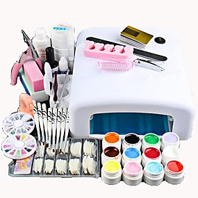 cheap Nail Art & Decoration-Nail Designs 2020 25 Pcs Nail Acrylic Set Kits 12 Colors UV gel 36W LED UV Nail Lamb/ Nail Dryer False Nail Basic Nail Art Tools for Beginner Nail salon In Stock