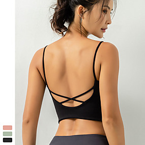 cheap Yoga & Fitness-Women's Yoga Top Bra Top Light Support Cross Back Wireless Fashion Black Green Light Pink Nylon Yoga Fitness Running Bra Top Sport Activewear Quick Dry Breathable Comfortable Freedom Stretchy