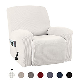 cheap Slipcovers-Stretch Recliner Chair Cover Recliner Cover for Electric/Manual Style Furniture Cover for Reclining with Side Pocket Soft Checked Jacquard Fabric Form Fitted