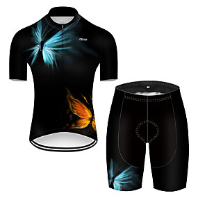 cheap Cycling & Motorcycling-21Grams Men's Short Sleeve Cycling Jersey with Shorts Summer Nylon Polyester Red+Blue Butterfly Gradient Solid Color Bike Clothing Suit 3D Pad Ultraviolet Resistant Quick Dry Breathable Reflective