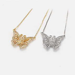 cheap Dating-Women's Pendant Necklace Necklace Long Necklace Butterfly Korean Sweet Fashion Modern Copper Gold Plated Gold Silver 20 cm Necklace Jewelry For Party Evening Prom Birthday Party Beach Festival