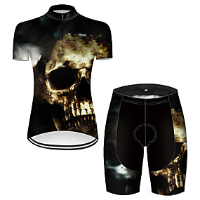 cheap Cycling & Motorcycling-21Grams Women's Short Sleeve Cycling Jersey with Shorts Summer Nylon Polyester Black / Yellow Patchwork Sugar Skull Skull Bike Clothing Suit 3D Pad Ultraviolet Resistant Quick Dry Breathable / Funny