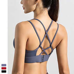 cheap Yoga & Fitness-Women's Sports Bra Medium Support Patchwork Wireless Fashion Black Red Blue Nylon Yoga Fitness Running Top Sport Activewear Quick Dry Breathable Comfortable Freedom Stretchy