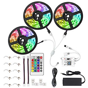 cheap WiFi Control-15M 3x5M WIFI Smart LED Light Strips Kit Waterproof RGB Tiktok Lights 450 LEDs 5050 Phone Controlled LED Strip KitTimer LED Tape LightWorks with Android iOS and Google Home
