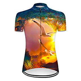 cheap Cycling & Motorcycling-21Grams Women's Short Sleeve Cycling Jersey Summer Nylon Polyester Blue+Yellow 3D Bird Bike Jersey Top Mountain Bike MTB Road Bike Cycling Ultraviolet Resistant Quick Dry Breathable Sports Clothing