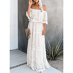 Χαμηλού Κόστους Women's Dresses-Γυναικεία Φόρεμα ριχτό από τη μέση και κάτω Μακρύ φόρεμα - Μισό μανίκι Συμπαγές Χρώμα Δαντέλα Εξώπλατο Καλοκαίρι Ώμοι Έξω Σέξι Λεπτό 2020 Λευκό Τ M L XL