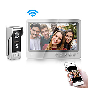 cheap Video Door Phone Systems-WiFi Intercom Video Doorbell Intercom System 9 Inch Wired Video Door Phone Doorbell Camera with Snapshot and Video Record