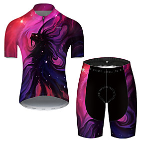 cheap Cycling & Motorcycling-21Grams Men's Short Sleeve Cycling Jersey with Shorts Summer Nylon Polyester Violet Galaxy Gradient Animal Bike Clothing Suit 3D Pad Ultraviolet Resistant Quick Dry Breathable Reflective Strips Sports