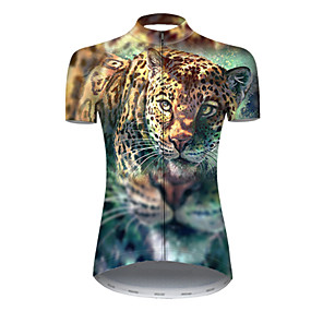 cheap Cycling & Motorcycling-21Grams Women's Short Sleeve Cycling Jersey Summer Nylon Polyester Blue+Yellow Tiger Animal Bike Jersey Top Mountain Bike MTB Road Bike Cycling Ultraviolet Resistant Quick Dry Breathable Sports