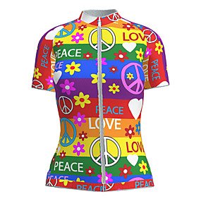 cheap Cycling & Motorcycling-21Grams Women's Short Sleeve Cycling Jersey Summer Nylon Polyester Red+Blue Heart Floral Botanical Peace & Love Bike Jersey Top Mountain Bike MTB Road Bike Cycling Ultraviolet Resistant Quick Dry
