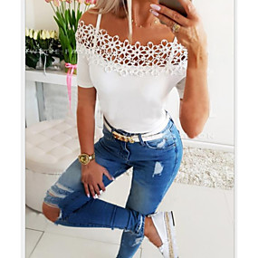 cheap Athleisure Wear-Women's T shirt Solid Colored Strap Tops White Black