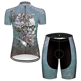 cheap Cycling & Motorcycling-21Grams Women's Short Sleeve Cycling Jersey with Shorts Summer Nylon Polyester Blue Sugar Skull Novelty Skull Bike Clothing Suit 3D Pad Ultraviolet Resistant Quick Dry Breathable Reflective Strips