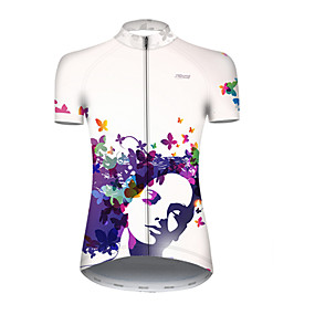 cheap Cycling & Motorcycling-21Grams Women's Short Sleeve Cycling Jersey Summer Nylon Polyester Blue+White Butterfly Gradient Bike Jersey Top Mountain Bike MTB Road Bike Cycling Ultraviolet Resistant Quick Dry Breathable Sports