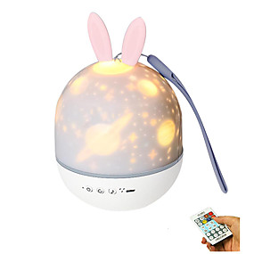 Baby & Kids' Night Lights-1set LED Projector Night Light Charging Rotating Projection Lamp with Rabbit Ears for Baby Kids Room Baby Sleep Lighting