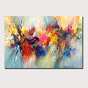cheap Floral/Botanical Paintings-Oil Painting Hand Painted Abstract Landscape Comtemporary Modern Stretched Canvas With Stretched Frame or Rolled Without Frame