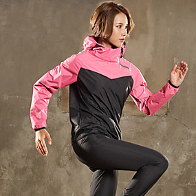 cheap Running & Jogging-Women's 2 Piece Full Zip Sauna Suit Tracksuit Activewear Set Athletic Athleisure Winter Long Sleeve Elastane Moisture Wicking Quick Dry Weight Loss Fitness Gym Workout Running Jogging Sportswear