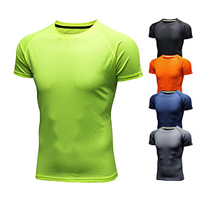cheap Exercise, Fitness & Yoga-Men's Short Sleeve Running Shirt Tee Tshirt Ice Silk Breathable Quick Dry Moisture Wicking Fitness Gym Workout Running Walking Jogging Sportswear Solid Colored Orange red ArmyGreen Black Light Green