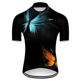cheap Cycling & Motorcycling-21Grams Men's Short Sleeve Cycling Jersey Summer Nylon Polyester Red+Blue Butterfly Solid Color Bike Jersey Top Mountain Bike MTB Road Bike Cycling Ultraviolet Resistant Quick Dry Breathable Sports