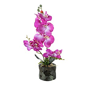 cheap Artificial Plants-Three Fabric Phalaenopsis Bonsai With Foam Basin Overall Height 45cm, Flower Pot Height 8.5cm, Flower Pot Diameter 10cm