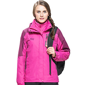 cheap Camping, Hiking & Backpacking-Wolfcavalry® Women's Hiking Jacket Hoodie Jacket Hiking 3-in-1 Jackets Autumn / Fall Winter Spring Outdoor Patchwork Waterproof Windproof Fleece Lining Warm Jacket Single Slider Hunting Fishing