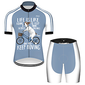 cheap Cycling & Motorcycling-21Grams Men's Short Sleeve Cycling Jersey with Shorts Summer Nylon Polyester Blue+White Dog Funny Animal Bike Clothing Suit 3D Pad Ultraviolet Resistant Quick Dry Breathable Reflective Strips Sports