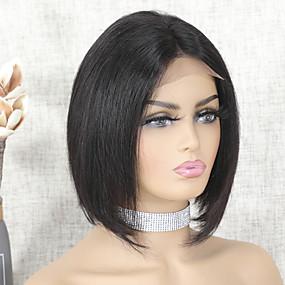 abordables Curly Lace Wigs-Peluca Pelo Natural Remy Encaje Frontal Cabello Brasileño Recto Natural Corte Bob Mujer Densidad 150% Raya en medio Para mujeres de color Corta Color natural Pelucas de Cabello Natural