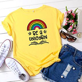 cheap Athleisure Wear-Women's T shirt Rainbow Graphic Text Print Round Neck Basic Tops 100% Cotton White Yellow Blushing Pink