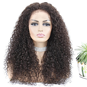 abordables Short Style Lace Wigs-Peluca Pelo Natural Remy Encaje Frontal Cabello Brasileño Rizado Jheri Natural Mujer Densidad 150% Larga Color natural Pelucas de Cabello Natural