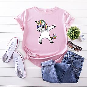 cheap Athleisure Wear-Women's T shirt Rainbow Cartoon Print Round Neck Basic Tops 100% Cotton Black Yellow Blushing Pink