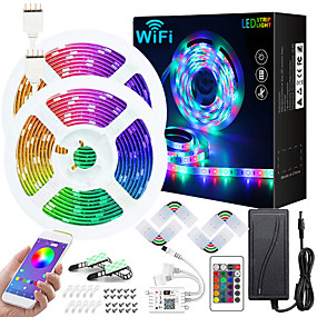 cheap WiFi Control-50ft 2x7.5M WIFI App Controlled Music Sync Colour Changing RGB LED Strip Lights with 24-Key Remote Sensitive Built-in Mic 5050 RGB LED Light Strip Kit DC12V