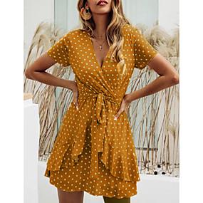 povoljno Wrap Dress-Žene Haljina koja se omata Mini haljina - Kratkih rukava Na točkice Ljeto V izrez Ležerne prilike Praznik Za odmor 2020 Crn Red Bijela M L XL XXL XXXL XXXXL XXXXXL